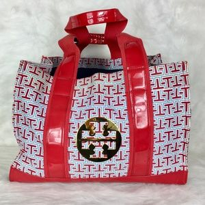 Large Tory Burch Red Canvas Logo Tote